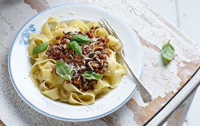 Spelt & Mushroom Ragout with Pappardelle