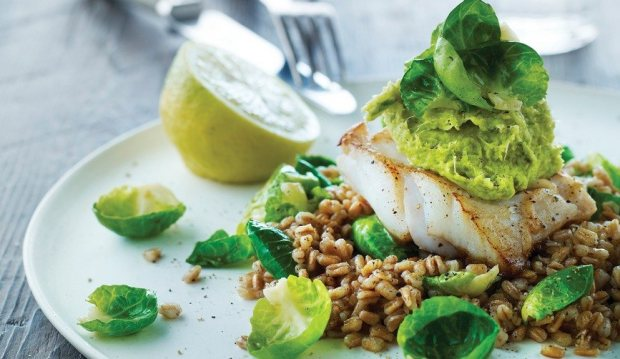COD AND PEARLED SPELT WITH BRUSSELS SPROUTS
