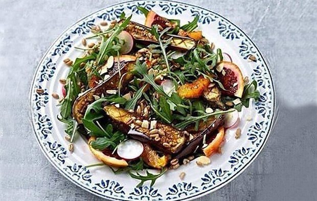 MOROCCAN-SPICED AUBERGINE & PEARLED SPELT SALAD